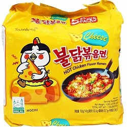 5 db-os Samyang sajtos csípős és fűszeres instant tészta csomag