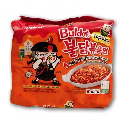 5 pcs Samyang Buldak Toppoki Spicy Chicken Roasted Noodles pack