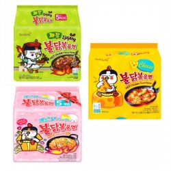 Mix 5 pcs Samyang Carbo-Jjajang-Cheese- Spicy Chicken Roasted Noodles pack