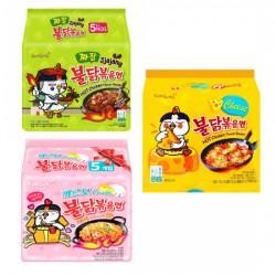 Mix 5 pcs Samyang Carbo-Jjajang-Cheese- Spicy Chicken Roasted Noodles pack