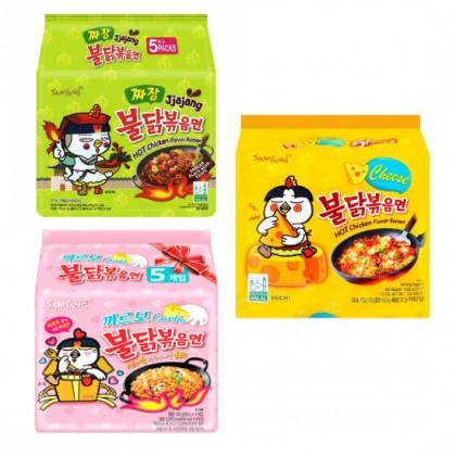 Mix 5 db-os Samyang carbo-sajtos-jjajang csípős és fűszeres instant tészta csomag