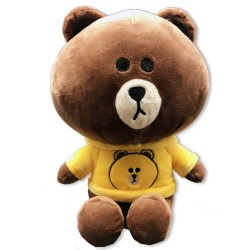 Cute Kuma bear with yellow hooded sweatshirts
