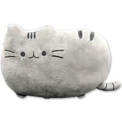 Kawaii grey cat plush pillow - 40 cm