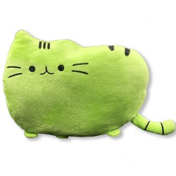 Kawaii green cat plush pillow - 40 cm