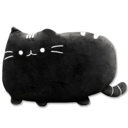 Kawaii black cat plush pillow - 40 cm