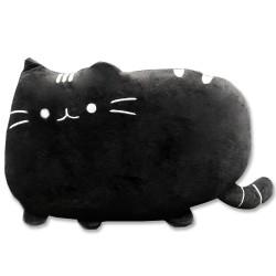 Kawaii fekete plüss cicás párna - 40 cm