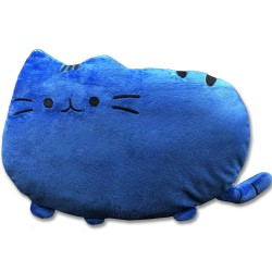 Kawaii blue cat plush pillow - 40 cm