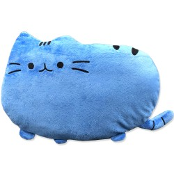 Kawaii light blue cat plush pillow - 40 cm
