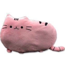 Kawaii pink cat plush pillow - 40 cm