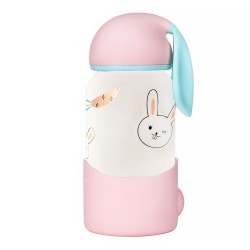 Cute Bunny ears pink thermos water bottle