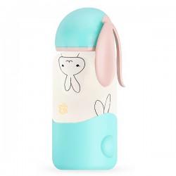 Cute Bunny ears cyan thermos water bottle