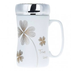 """True Love"" clover mug with lid"