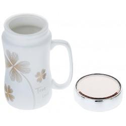 """True Love"" clover mug with lid"