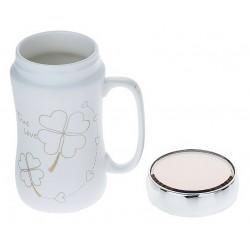 """Hearts"" clover mug with lid"