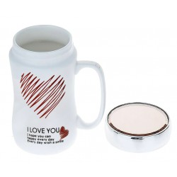 """I Love You"" heart mug with lid"