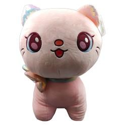 Kawaii big pink plush cat with ribbon