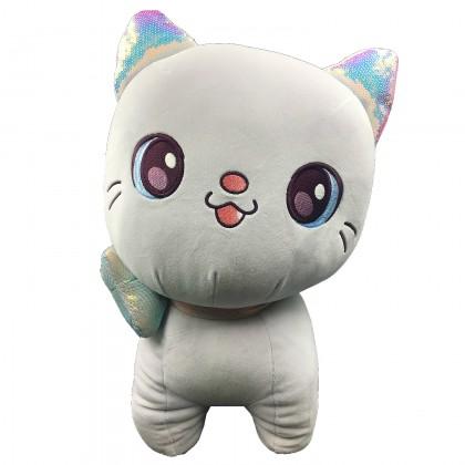 Kawaii pink plush cat with ribbon - 45 cm