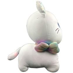 Kawaii big grey plush cat with ribbon