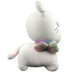 Kawaii grey plush cat with ribbon - 45 cm