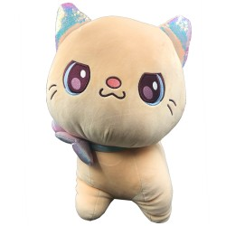 Kawaii big khaki plush cat with ribbon