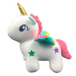 Stress-relieving unicorn plush with colorful stars- 30cm