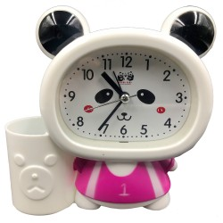 Pink cute Panda Baby clock with pen holder