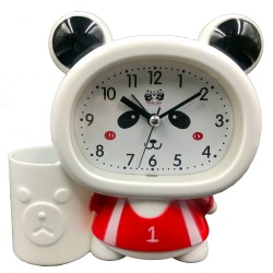 Red cute Panda Baby clock with pen holder