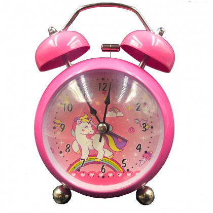 Pink rainbow unicorn clock