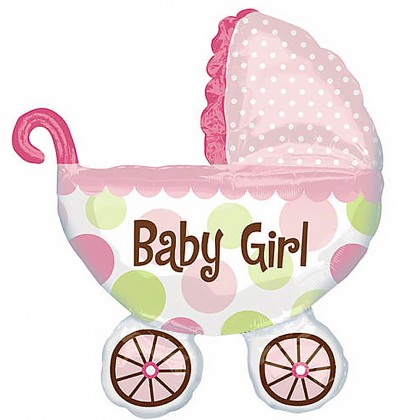 Baby Girl carriage foil balloon