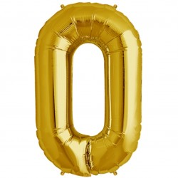 "16"" Gold Number Balloon - 0"