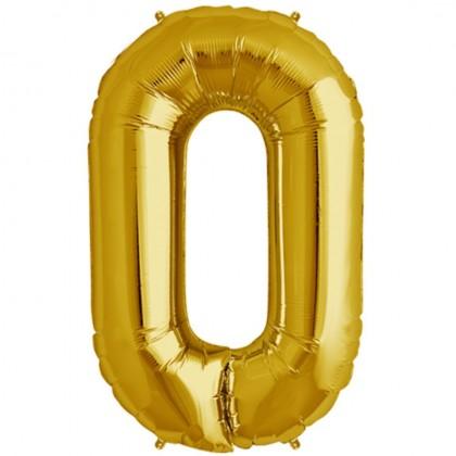 Arany szám fólia lufi - 0