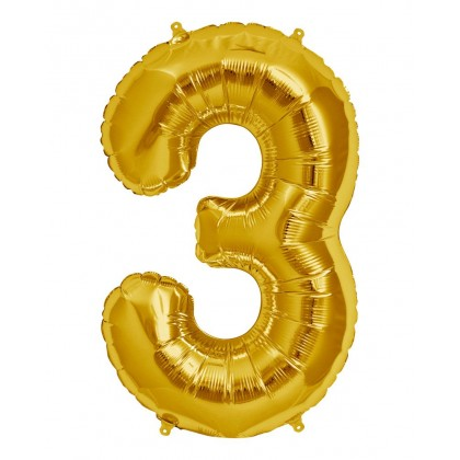"16"" Gold Number Balloon - 3"