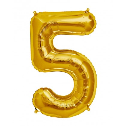 """16"""" Gold Number Balloon - 5"""