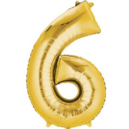 "16"" Gold Number Balloon - 6"