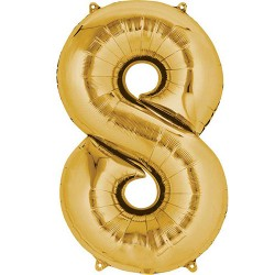 "16"" Gold Number Balloon - 8"