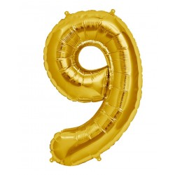 "16"" Gold Number Balloon - 9"