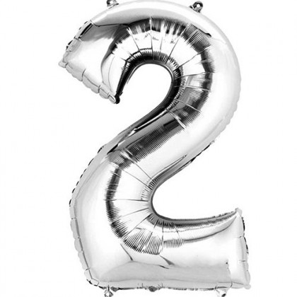 """16"""" Silver Number Balloon - 2"""
