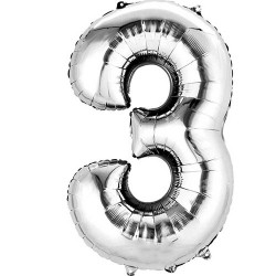 """16"""" Silver Number Balloon - 3"""