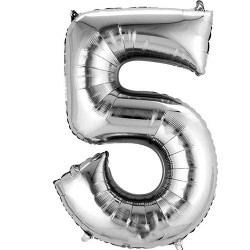 "16"" Silver Number Balloon - 5"
