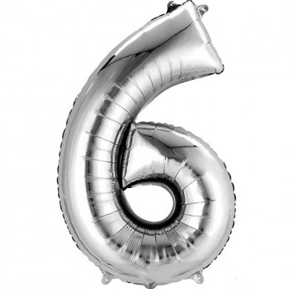 "16"" Silver Number Balloon - 6"