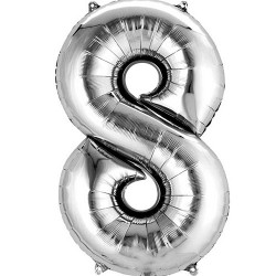 """16"""" Silver Number Balloon - 8"""