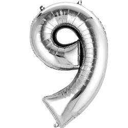 "16"" Silver Number Balloon - 9"