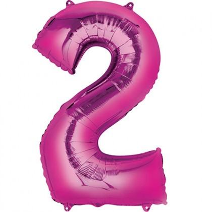 """16"""" Rózsaszín szám fólia lufi - 2"""