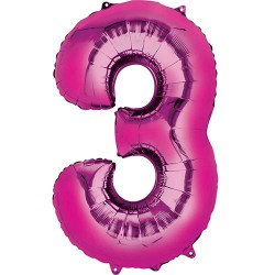 "16"" Pink Number Balloon - 3"