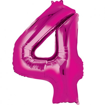 """16"""" Pink Number Balloon - 4"""