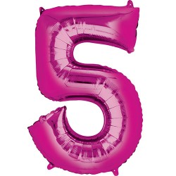 "16"" Pink Number Balloon - 5"