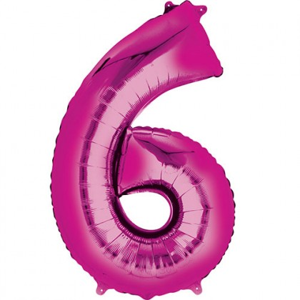 "16"" Pink Number Balloon - 6"