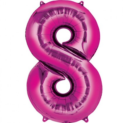"16"" Pink Number Balloon - 8"