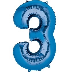 "16"" Blue Number Balloon - 3"