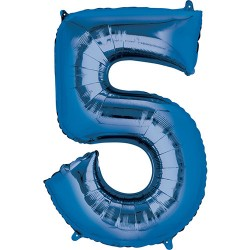 "16"" Blue Number Balloon - 5"